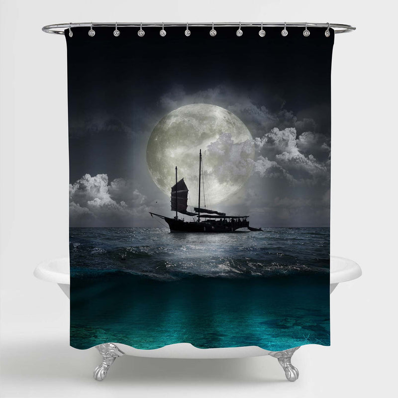 Lonely Sailboat in the Sea Against a Full Moon Shower Curtain - Grey Green