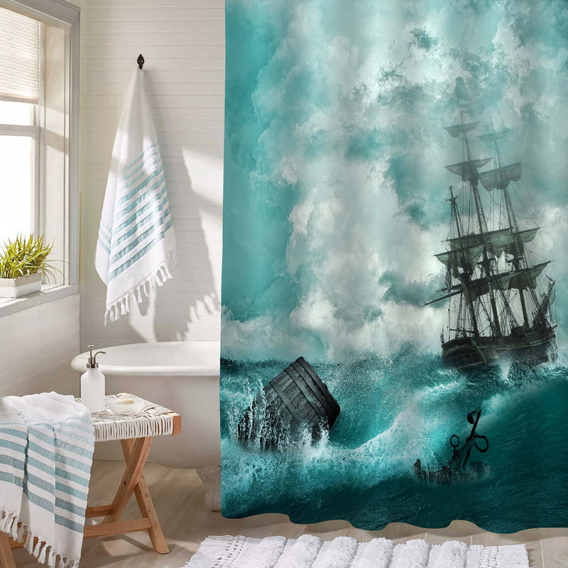 Vintage Old Sailboat Sailing in Stormy Rainy Weather Ocean Waves Shower Curtain - Green Blue