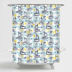 Hand Painted Gouache Ships Shower Curtain - Blue Green