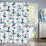 Vintage Ship Anchor with Sea Waves Painting Shower Curtain - Blue Aqua