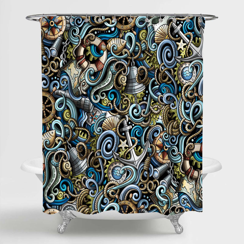 Hand Drawn Nautical Doodles Shower Curtain - Multicolor