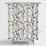 Hand Drawn Sea Anchor Steering Wheel Shower Curtain - Black Gold