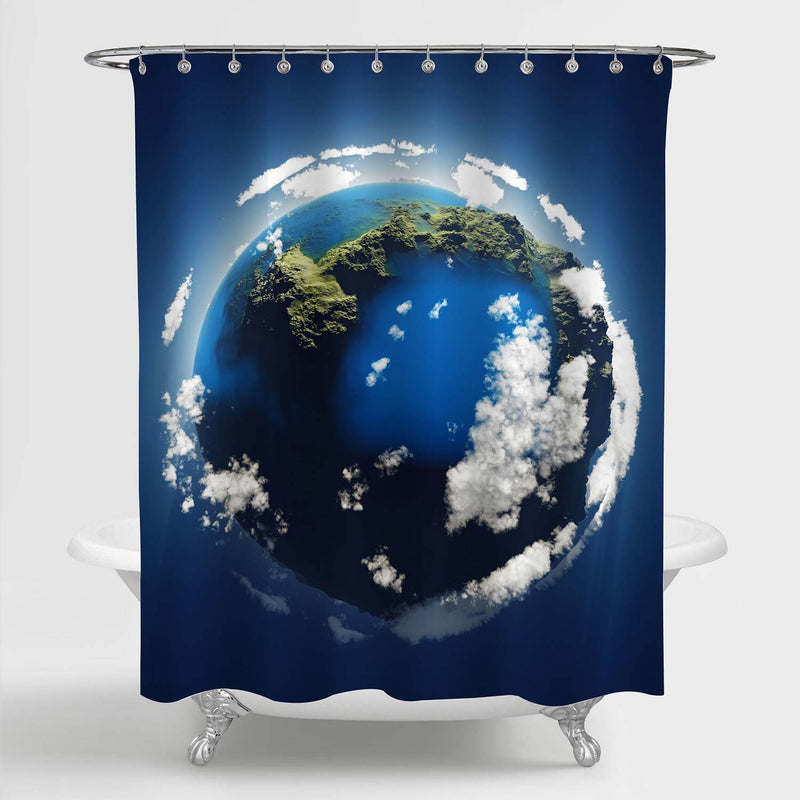 Aerial View Earth in the Space Shower Curtain - Blue