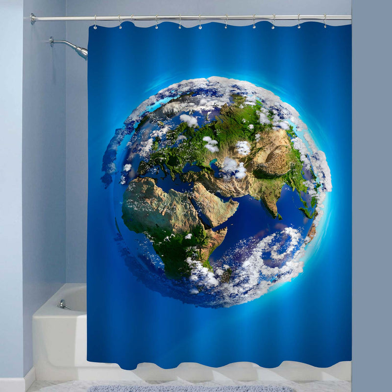 Planet Earth with Oceans Mountains and Atmosphere in the Sunlight Shower Curtain - Blue