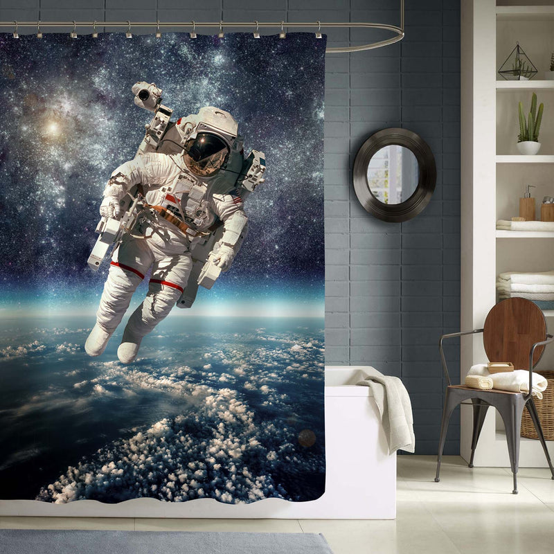 NASA Astronaut in Outer Space Walk Shower Curtain - Blue