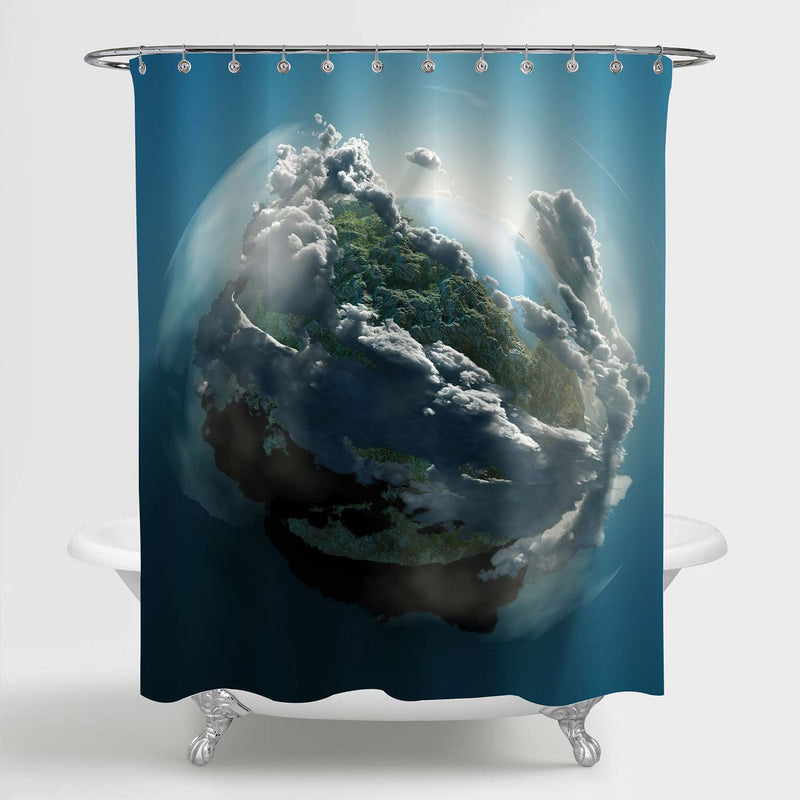 Planet Earth Shower Curtain - Blue
