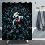 Astronaut Surrounded by a Horde of Robot Zombie Skeletons Shower Curtain - Dark Blue