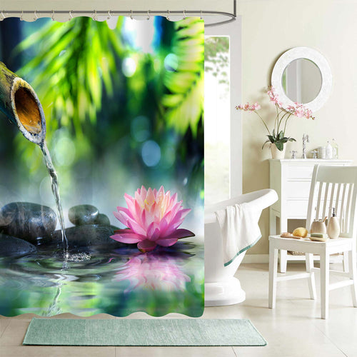 Zen Garden Pond Lotus Flower Shower Curtain - Green Pink