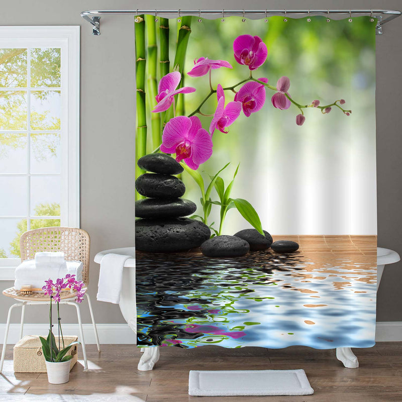 Japanese Garden  Therapy Spa Shower Curtain - Green
