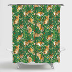 Hand Drawn Rabbit with Flower Plant Herb and Leaves Shower Curtain - Brown Green