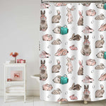 Hand Drawn Happy Easter Bunny and Easter Eggs Shower Curtain - Multicolor