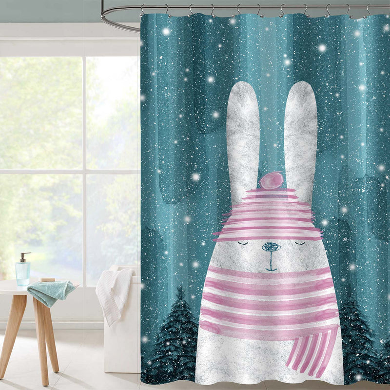 Winter Rabbit Shower Curtain - Green Pink