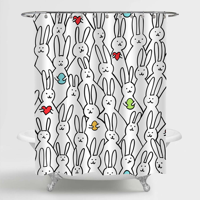 Bunny with Easter Eggs and Hearts Shower Curtain - Black White