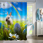 Bunny and Easter Eggs on Spring Field Shower Curtain - Green Blue