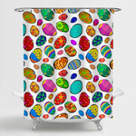 Hand Drawn Colorful Easter Eggs with Various Ornaments Shower Curtain - Multicolor