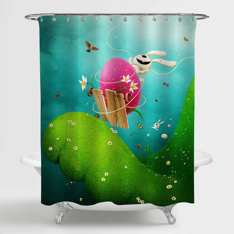 Spring Easter Fairytale with Funny Bunny on Easter Egg Shower Curtain - Green