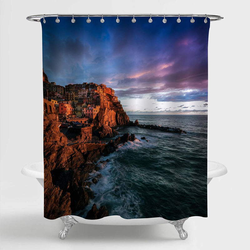 Coastal Village Manarola During Sunset Shower Curtain - Blue Brown