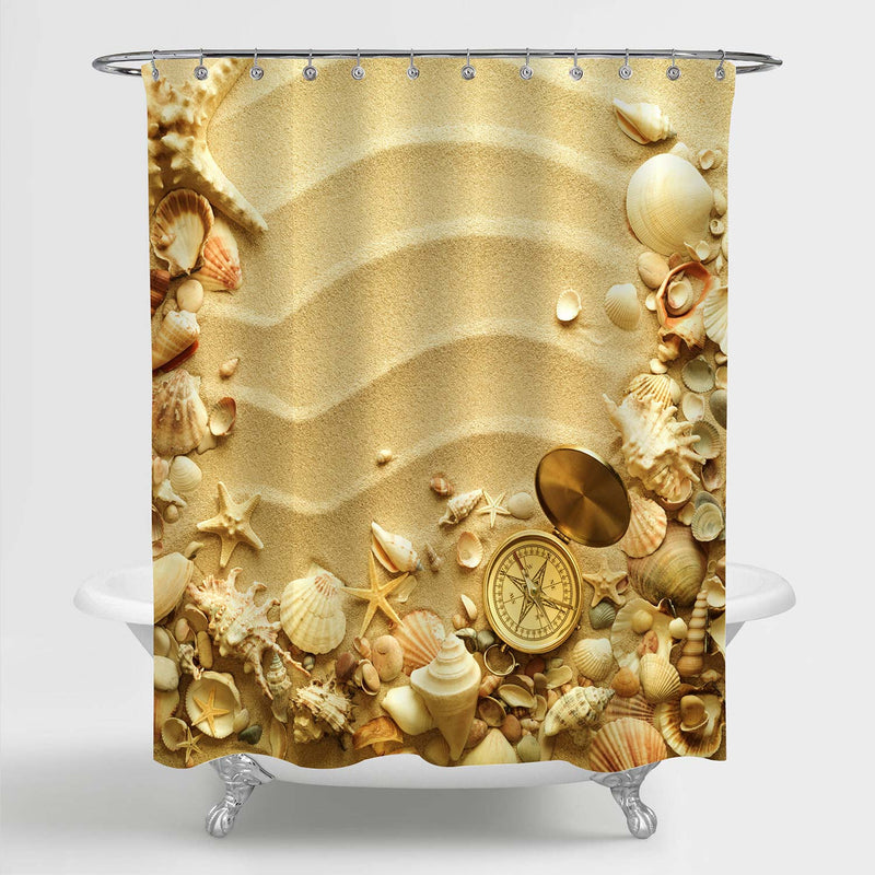 Sea Shells Starfishes and Old Compass with Sand Shower Curtain - Gold