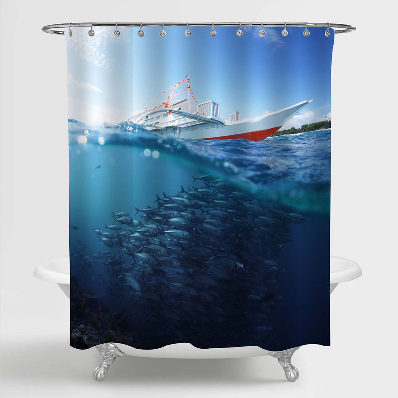 Collage with School of Jack Fish Underwater and Traditional Boat Shower Curtain - Blue