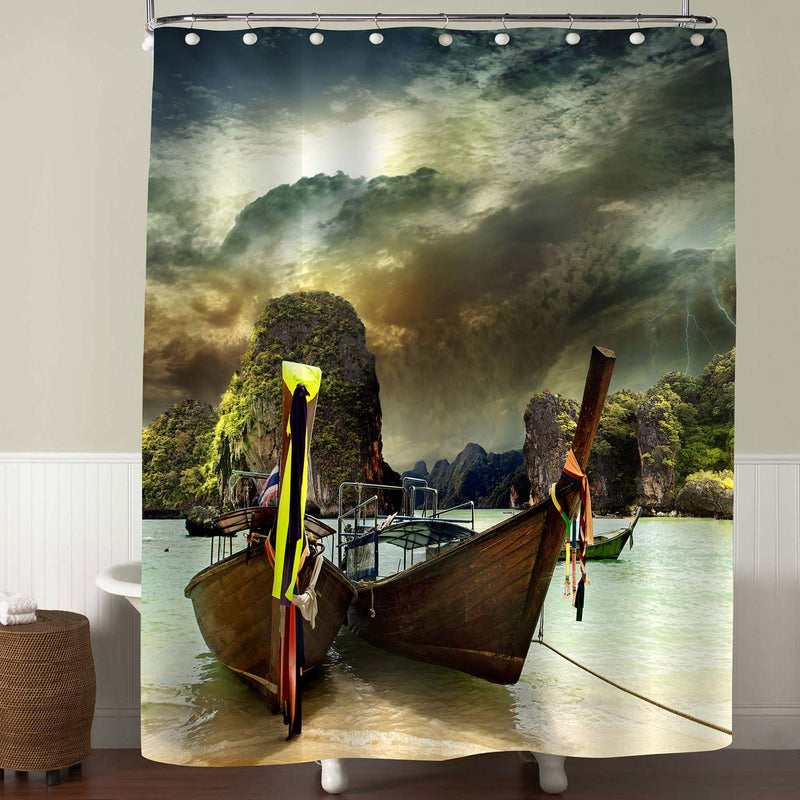 Traditional Thai Boat on the Shore of the Andaman Sea Shower Curtain - Green