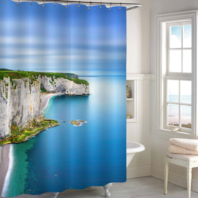 Aerial View of Etretat Rock Cliff and Beach in Normandy France Shower Curtain - Blue