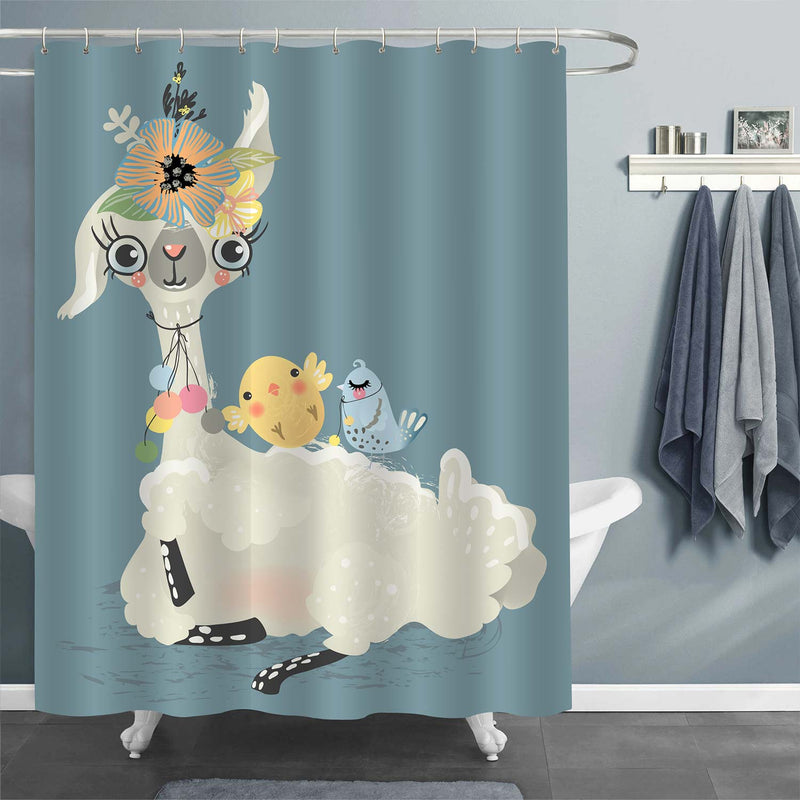 Llama and Friend Animals Shower Curtain - Teal