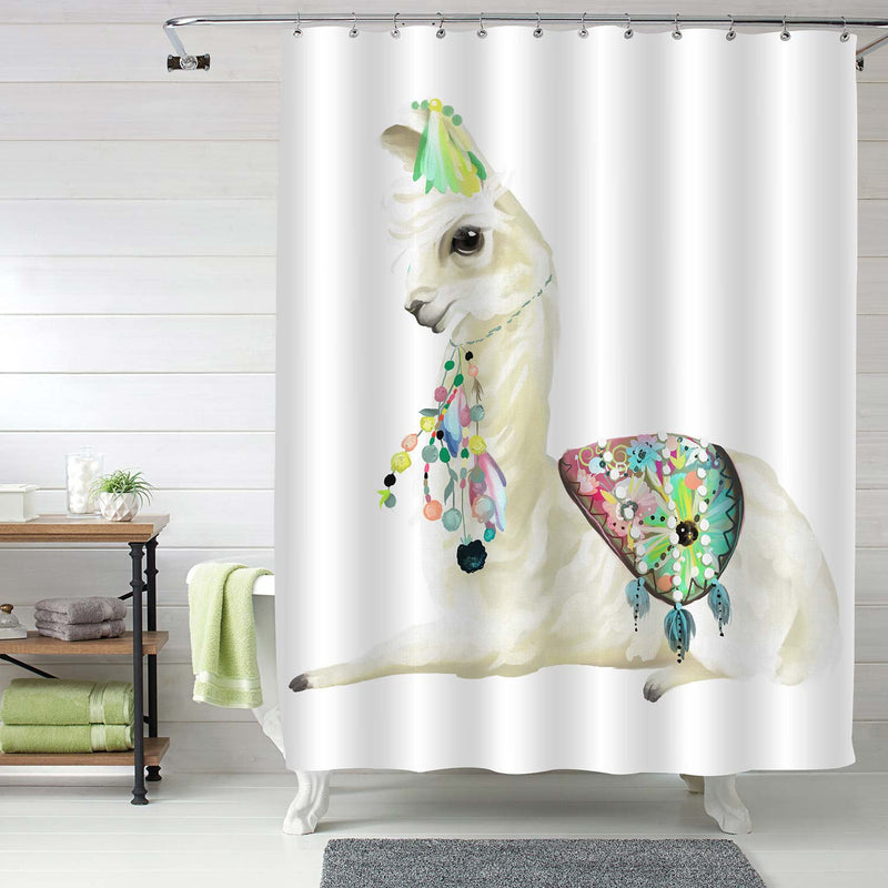 Hand Painted Mexican Llama with Ethnic Blanket Shower Curtain -Beig