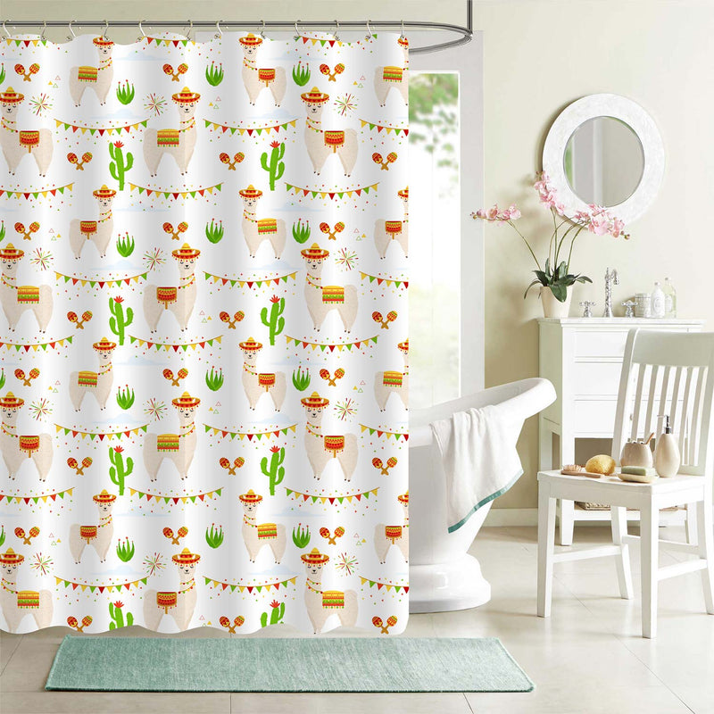 Mexican Wild Animal Llama Shower Curtain - Multicolor