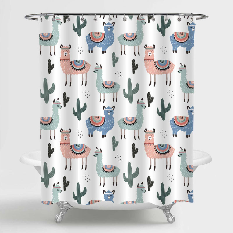 Hand Drawn Ilama and Cactus Shower Curtain - Multicolor