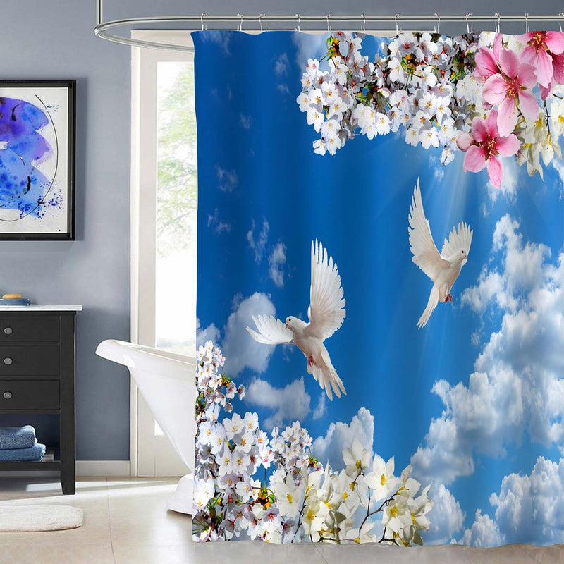 Blooming Flowers and Flying Doves in Spring Sunny Sky Shower Curtain - Blue