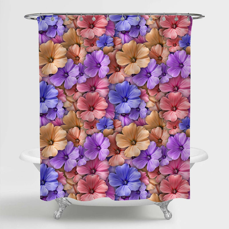 Vivid Geranium Flower Shower Curtain - Multicolor