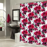 Asian Traditional Watercolor Roses Shower Curtain - Red Black