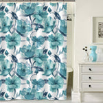 Watercolor Orchid Flowers Shower Curtain - Green