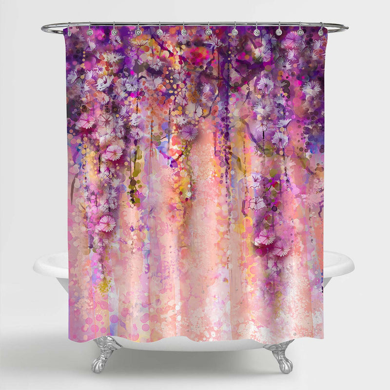 Abstract Watercolor Painting Flowers Shower Curtain - Purple Pink