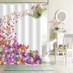 Pansy and Rose Butterfly Leaves Blossom Shower Curtain - Multicolor