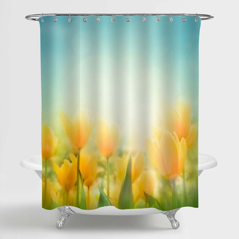 Spring Tulips Shower Curtain - Yellow Green