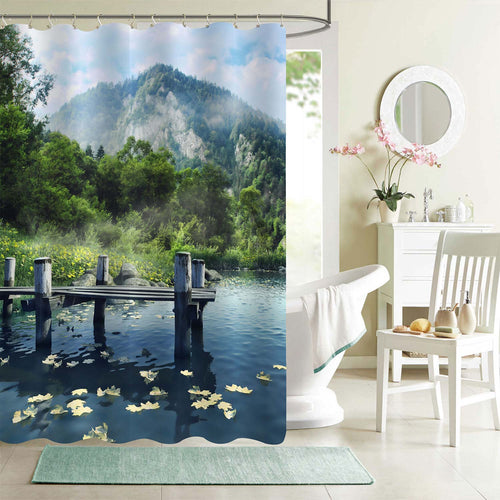 Wooden Jetty on a Blue Lake in the Mountains Shower Curtain - Blue Green