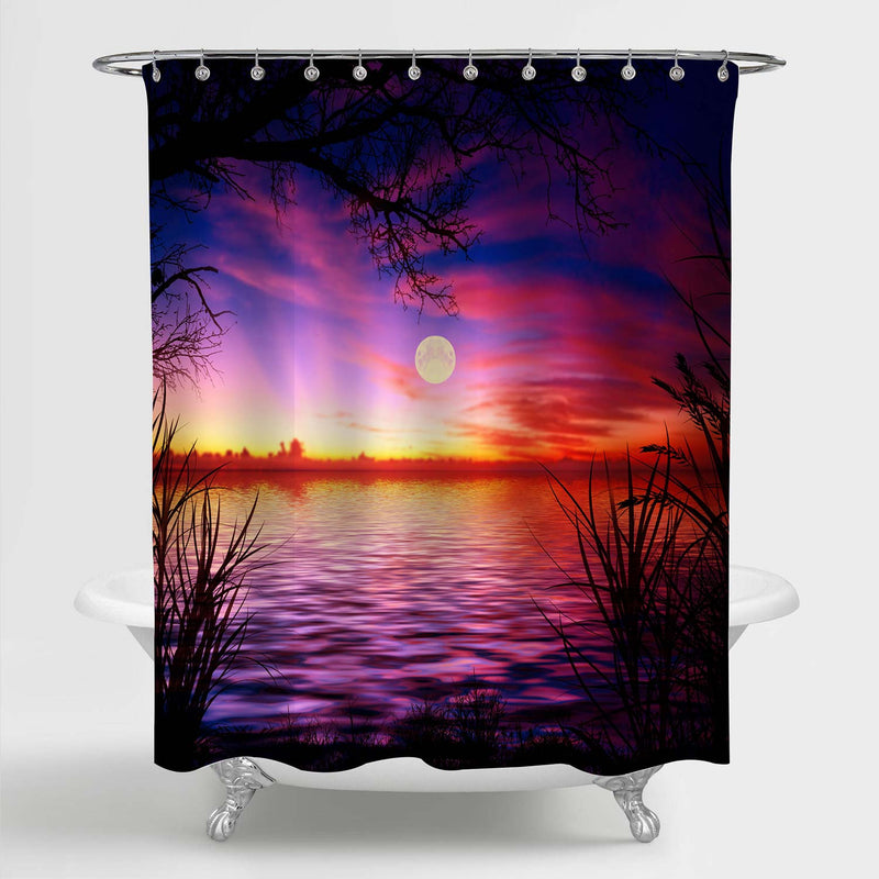 Moon Night Lake with Grass and Tree Shower Curtain - Purple Gold