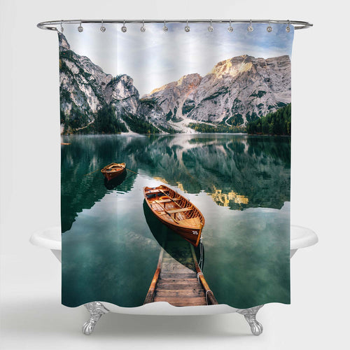 Wooden Bridge and Boat with Alps Mountains Shower Curtain - Green