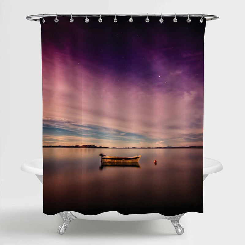 Lonely Boat Floating on Peaceful Lake Shower Curtain - Purple