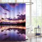Coconut Tree Stand Near the Pond Shore Shower Curtain - Purple