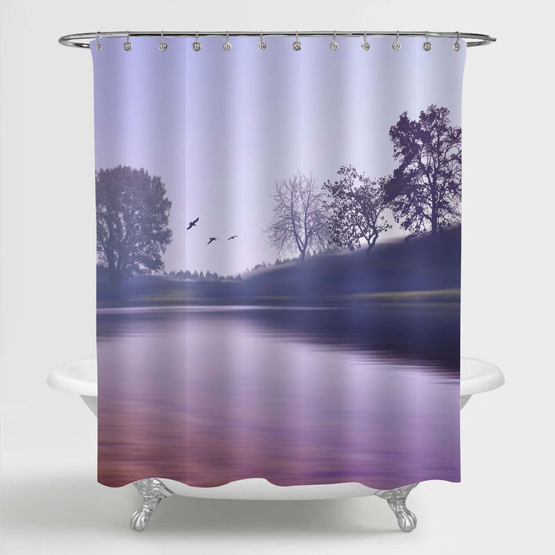 Peaceful Moring Fog on the Lake and Big Trees Shower Curtain - Purple