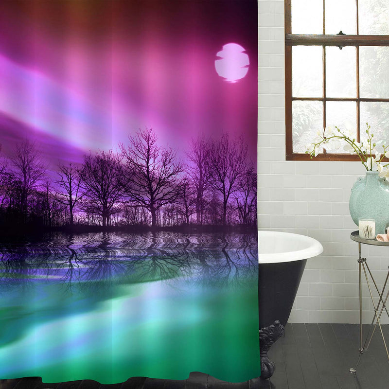Tree Silhouette with the Twilight Cloud Sky and Magical Full Moon Shower Curtain - Purple Green