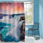 Dramatic Sunset on the Waterfall Shower Curtain - Red Blue