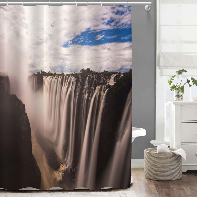 Thundering Sound from Victoria Waterfall Shower Curtain - Dark Grey