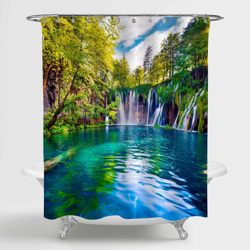 Spring Scene of Green Forest with Pure Waterfall Shower Curtain - Green
