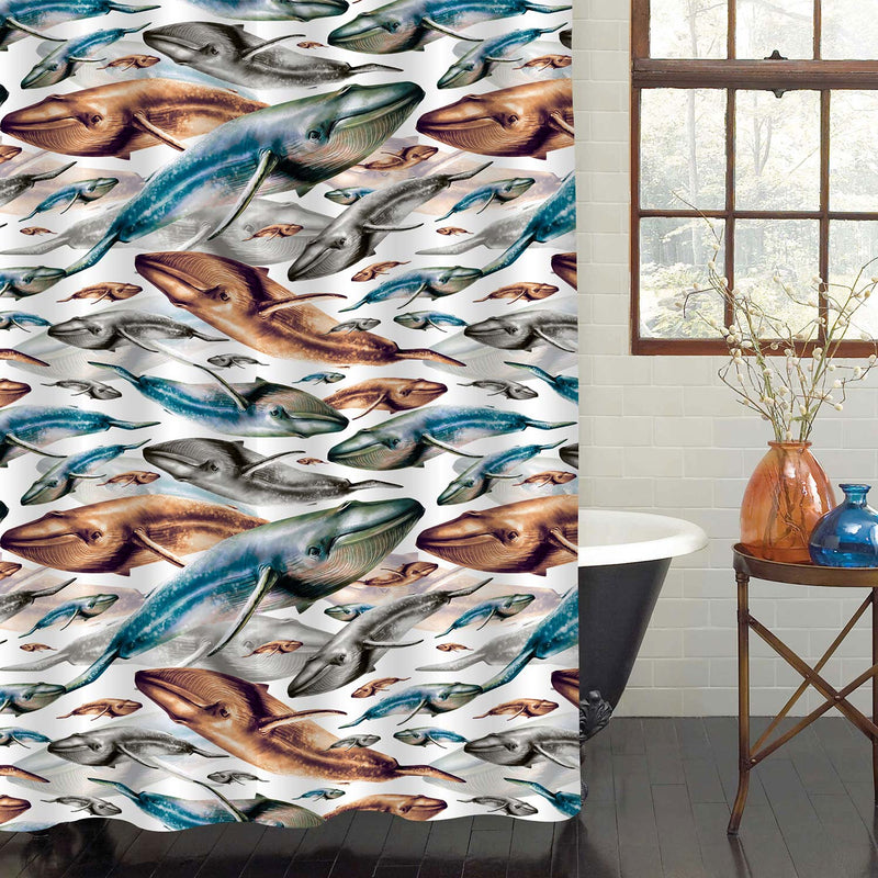 Watercolor Whales Shower Curtain - Blue Brown