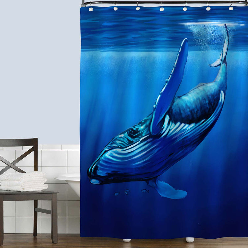 Whale Diving Away with Streams of Sunlight Shower Curtain - Blue