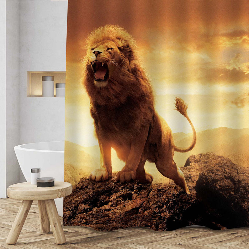 Angry Roaring Lion on The Peak of Mountain Shower Curtain - Gold