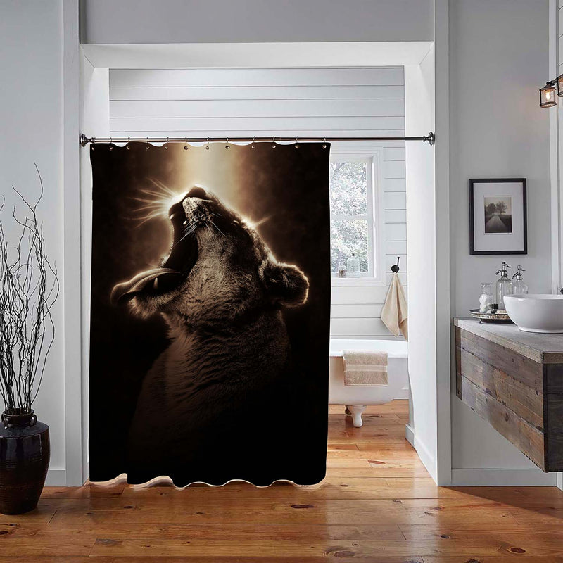 Black and Gold Portrait of a Wild Roaring Female Lion Showing Teeth Shower Curtain - Black Gold